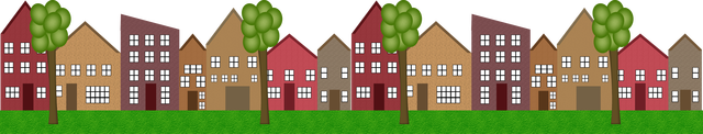 Little Houses In A Row Clipart.
