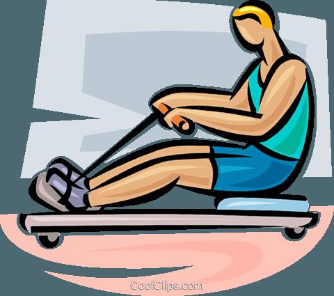 rowing machine Royalty Free Vector Clip Art illustration.