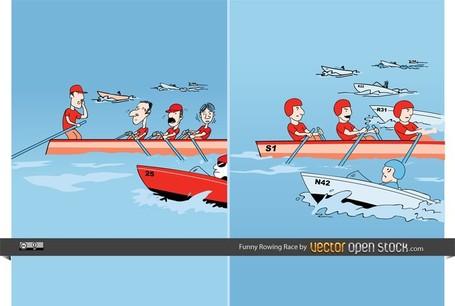 Funny Rowing Race, Vectors.