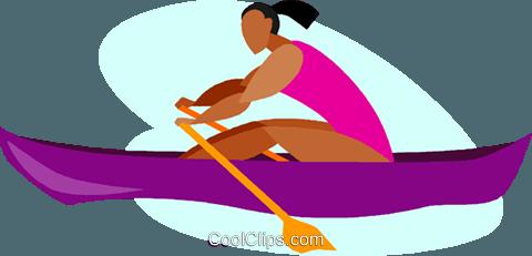 women in rowing race Royalty Free Vector Clip Art illustration.