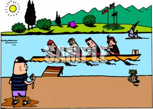 Group of Students Rowing a Long Boat with a Coach Timing Them.