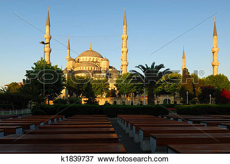 Picture of Blue Mosque at sunrise, perspective rows of benches in.