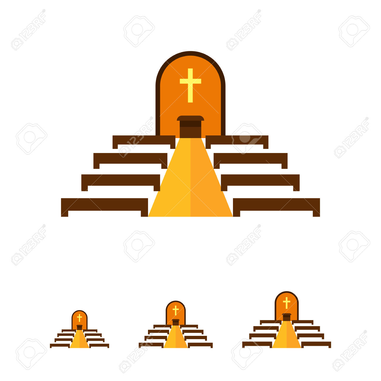 Multicolored Vector Icon Of Catholic Church Interior With Altar.