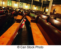Stock Photography of Rows of benches in a church csp1097250.