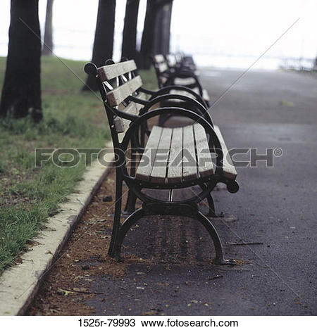 Stock Photo of Row of benches on a roadside 1525r.