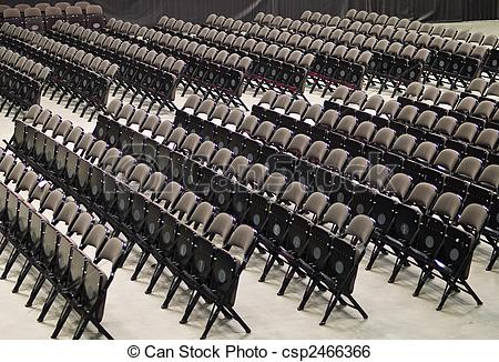 Stock Image of Rows of Folding Chairs.