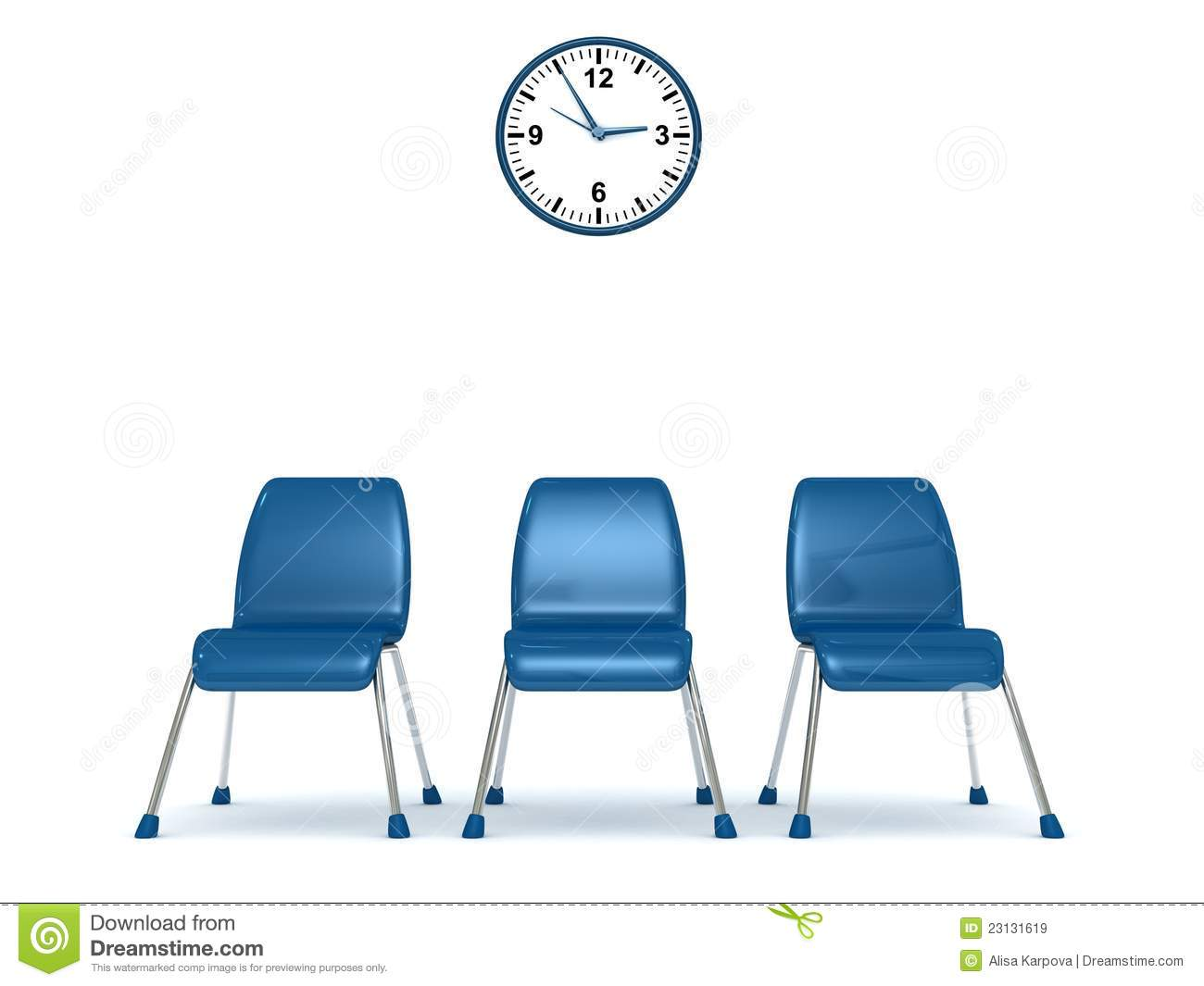 Waiting Room With A Row Of Chairs And Wall Clock Royalty Free.