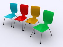 Row Of Colourful Plastic Chairs Royalty Free Stock Photo.