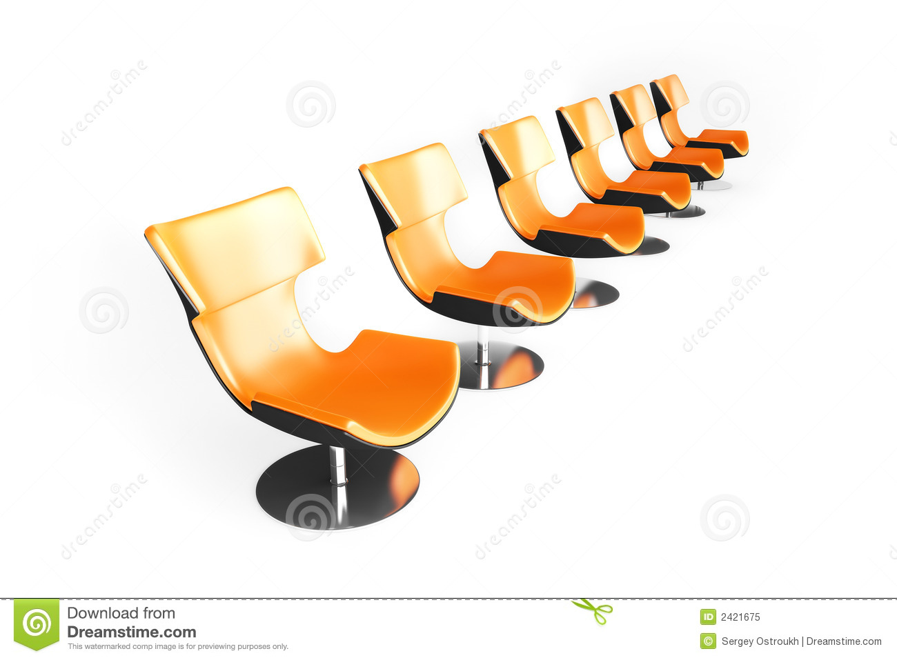 Row Of The Orange Chairs Royalty Free Stock Photo.