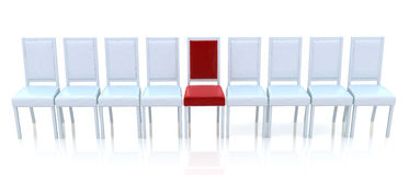 One Red Chair Row White Chairs Stock Illustrations.