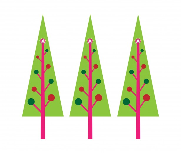 Rows of christmas trees clipart.