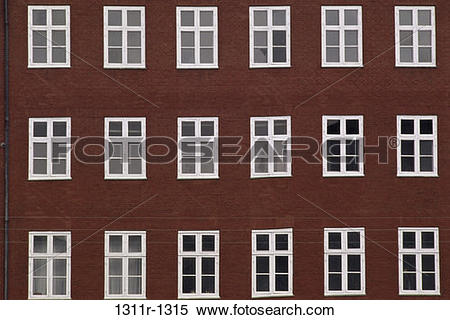 Stock Image of rows, windows, exterior, building, pattern.