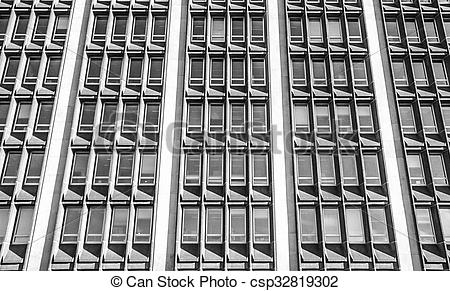 Stock Photography of Rows of windows in a 60's era offic.