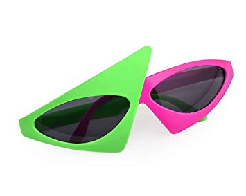 SCSpecial Novelty Party Sunglasses 80s Asymmetric Glasses Hot Pink Neon  Green Glasses Hip Hop Dance Halloween Party.