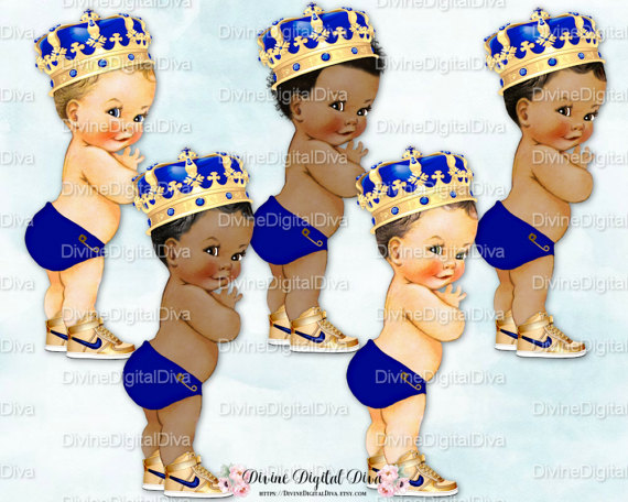 Little Prince Blue Royal Ornate Gold Crown Sneakers.