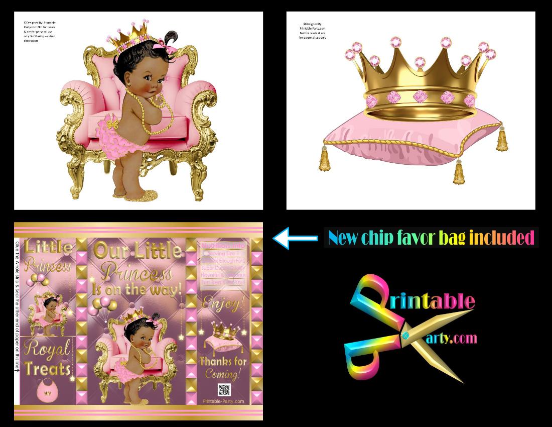 Printable Royal Princess Baby Shower Supplies Pink & Gold.