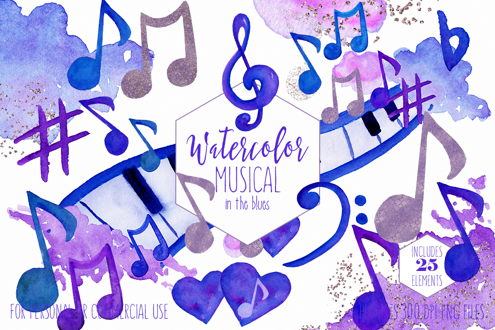 WATERCOLOR MUSIC Clipart Royal Blue Purple Music Notes Treble Clef Piano  Keys Fun Watercolour Paint Splash Graphics.
