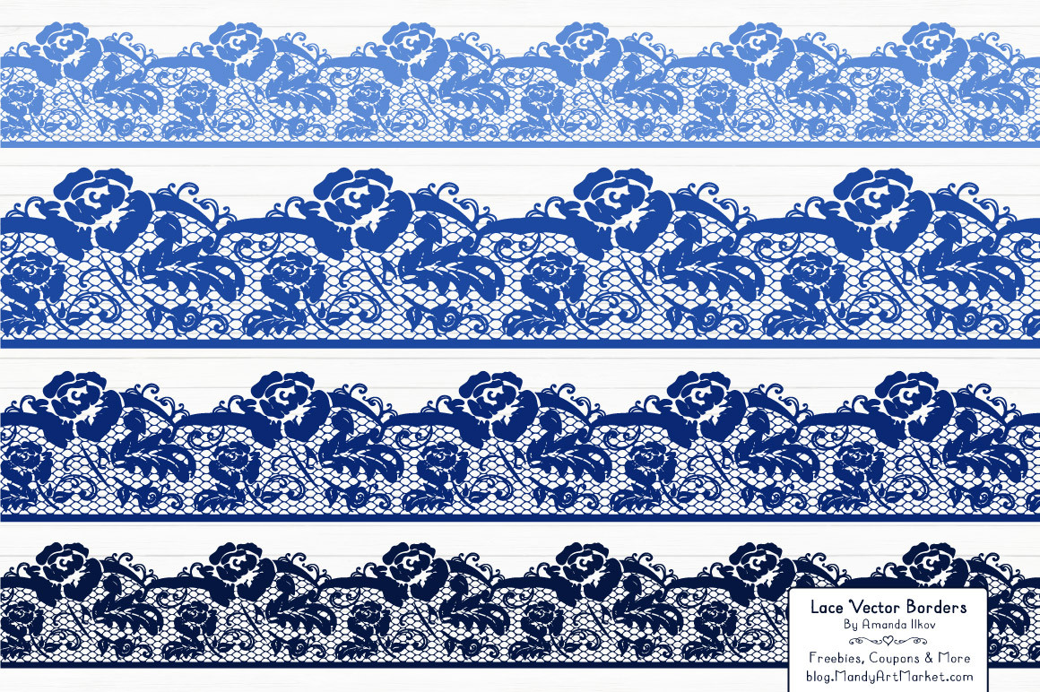 Lace Border Clipart in Royal Blue.