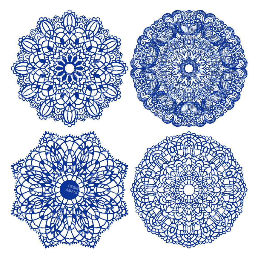 Round Lace Doilies Clipart in Royal Blue.