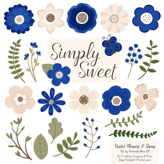 Cute Flowers Clipart in Royal Blue Royal Blue Vector.