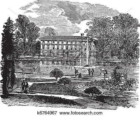 Clip Art of The Royal Botanic Garden and a view of Museum No. 1.