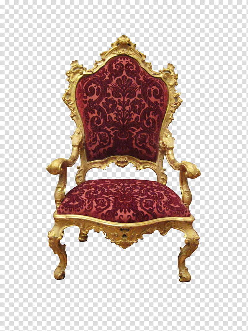 Royal Chair, red floral padded armchair with brown wooden.