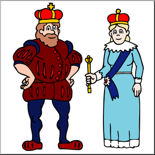 Clip Art: Royal Family: King and Queen Color I abcteach.com.