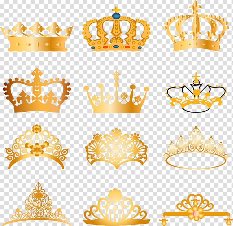 Assorted crown illustration lot, Crown , material European.