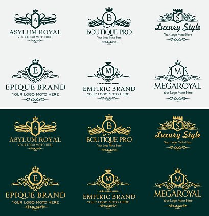 Heraldic Royal Luxurious Crest Logos Set Clipart Image.