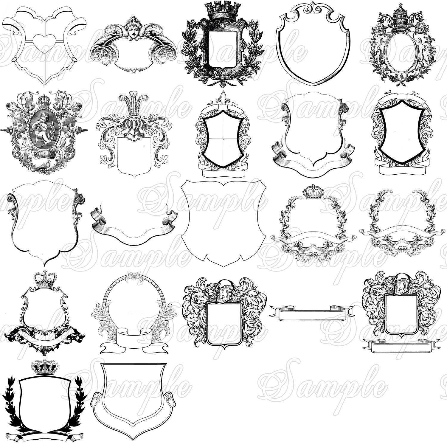 Family Crest, Royal Monogram, Coat of Arms, Royalty Clipart.