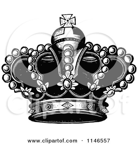 Clipart Royal Crown In Black And White.