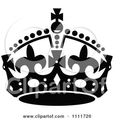 Clipart of a Retro Vintage Black and White Royal Crown 3.