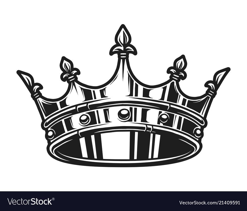 Vintage monochrome royal crown template.