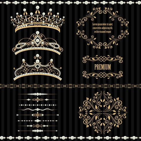 Set collections of royal design elements.