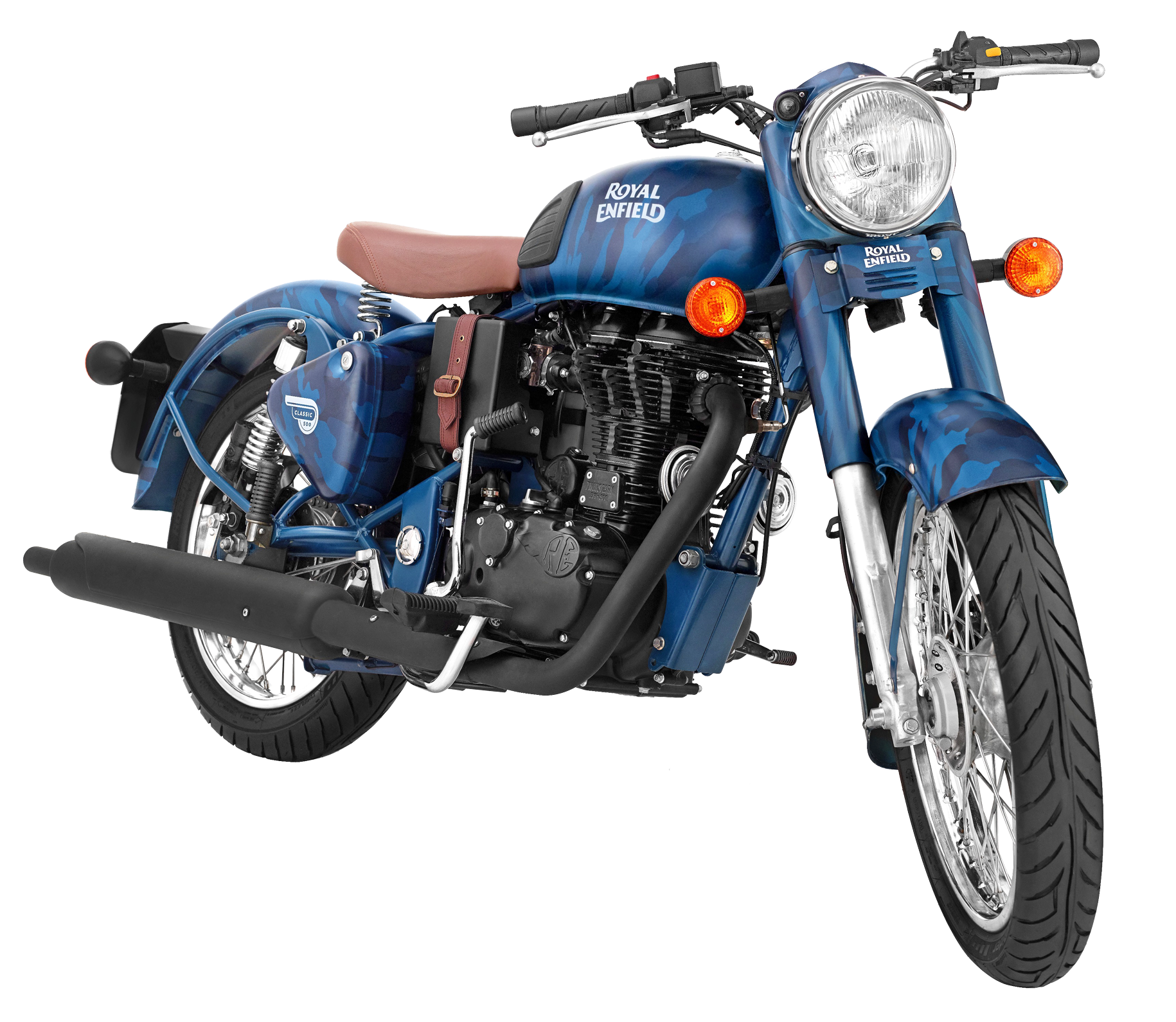 Royal Enfield Classic 500 Squadron Blue Motorcycle Bike PNG.