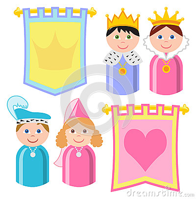 Cartoon Royal Family Stock Vector.