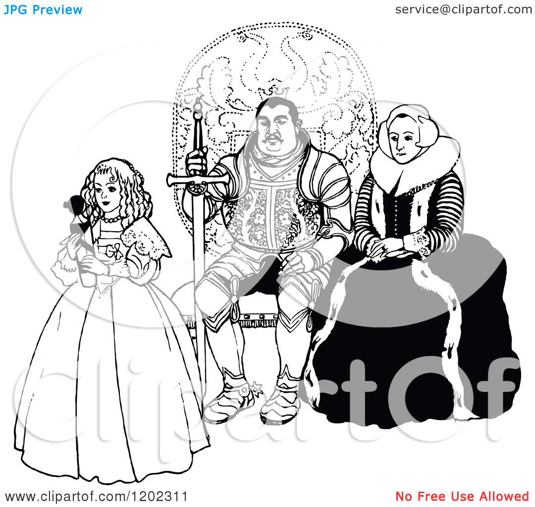 Clipart of a Vintage Black and White Royal Family.
