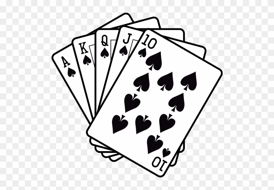 Royal Flush Black And White Clipart (#1366337).