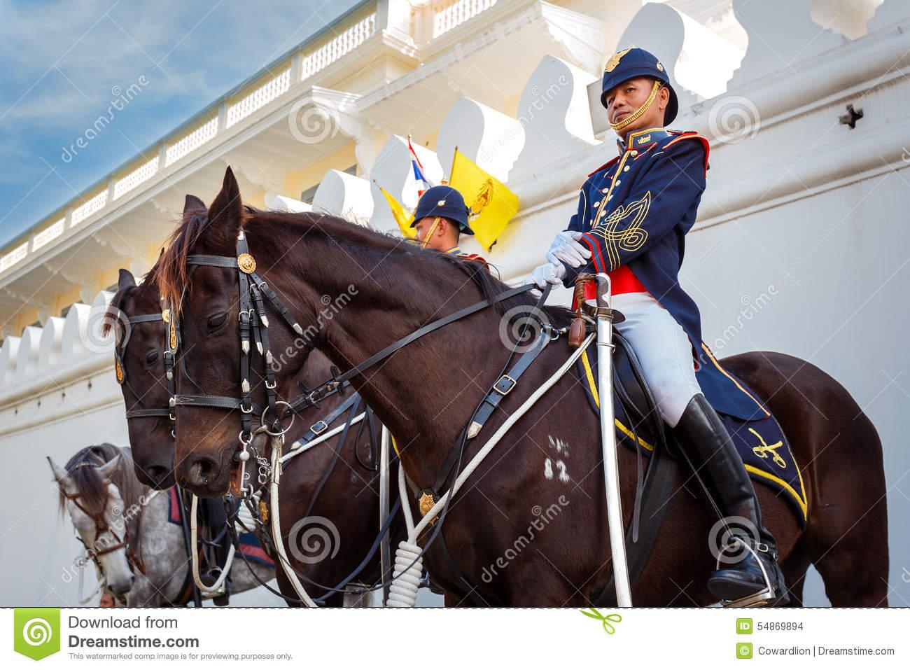 Royal Horse Guards At The Grand Palace In Bangkok Editorial Stock.