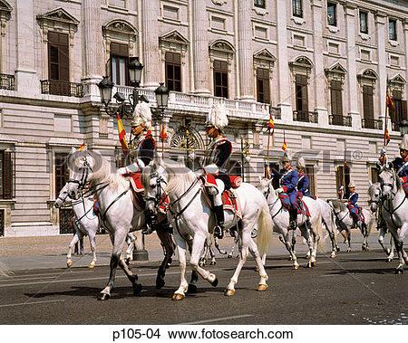 Stock Photo of Spain, Madrid, Horse guards at the Royal Palace.