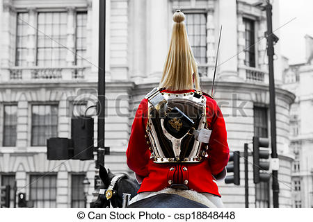 Stock Photo of A Royal Horse Guards soldier. Horse guards parade.