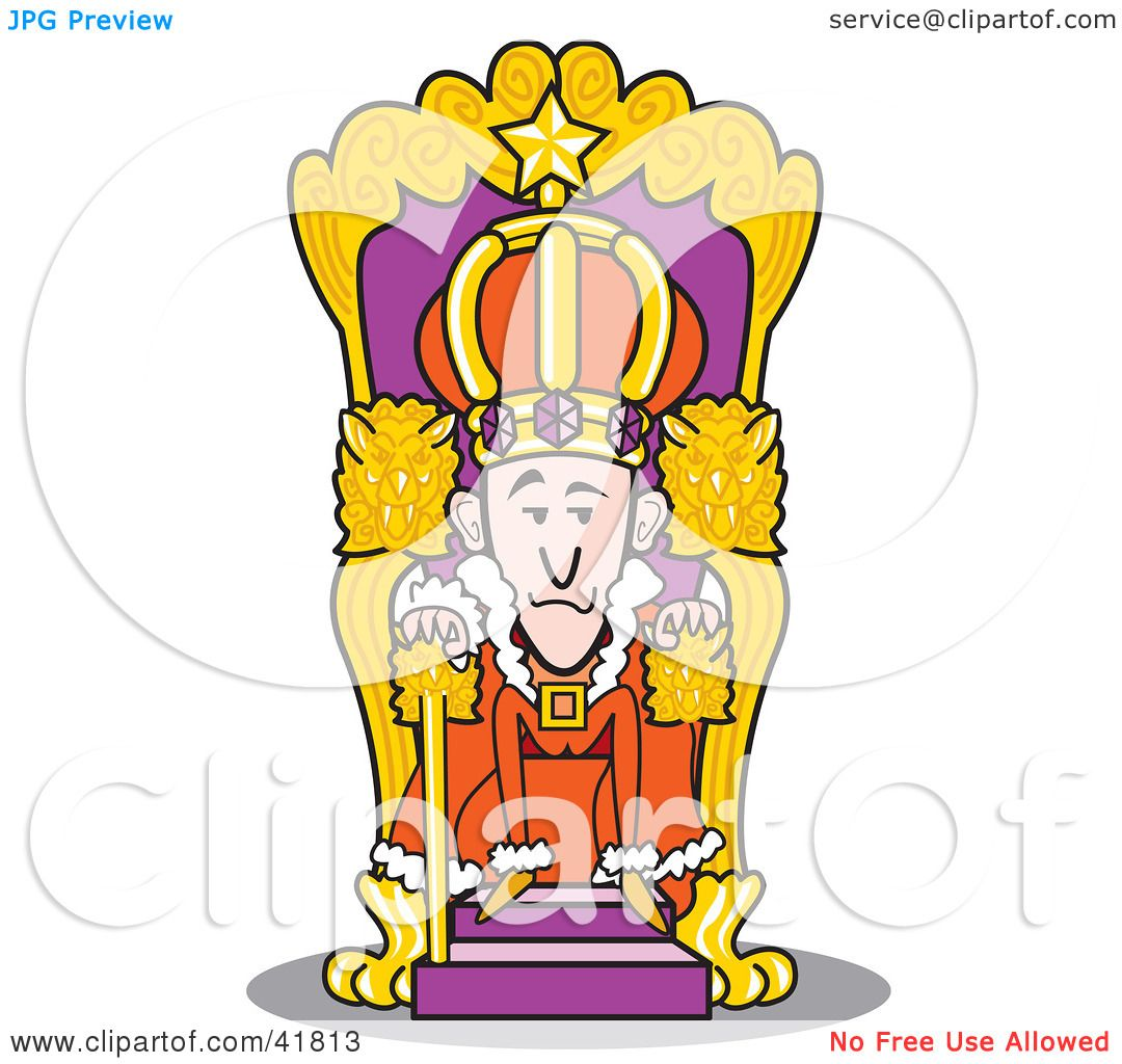 Clipart Illustration of a Royal King Seated at His Throne by Andy.
