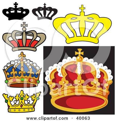 Clipart Illustration of a Beaded Blue Royal King's Crown With.