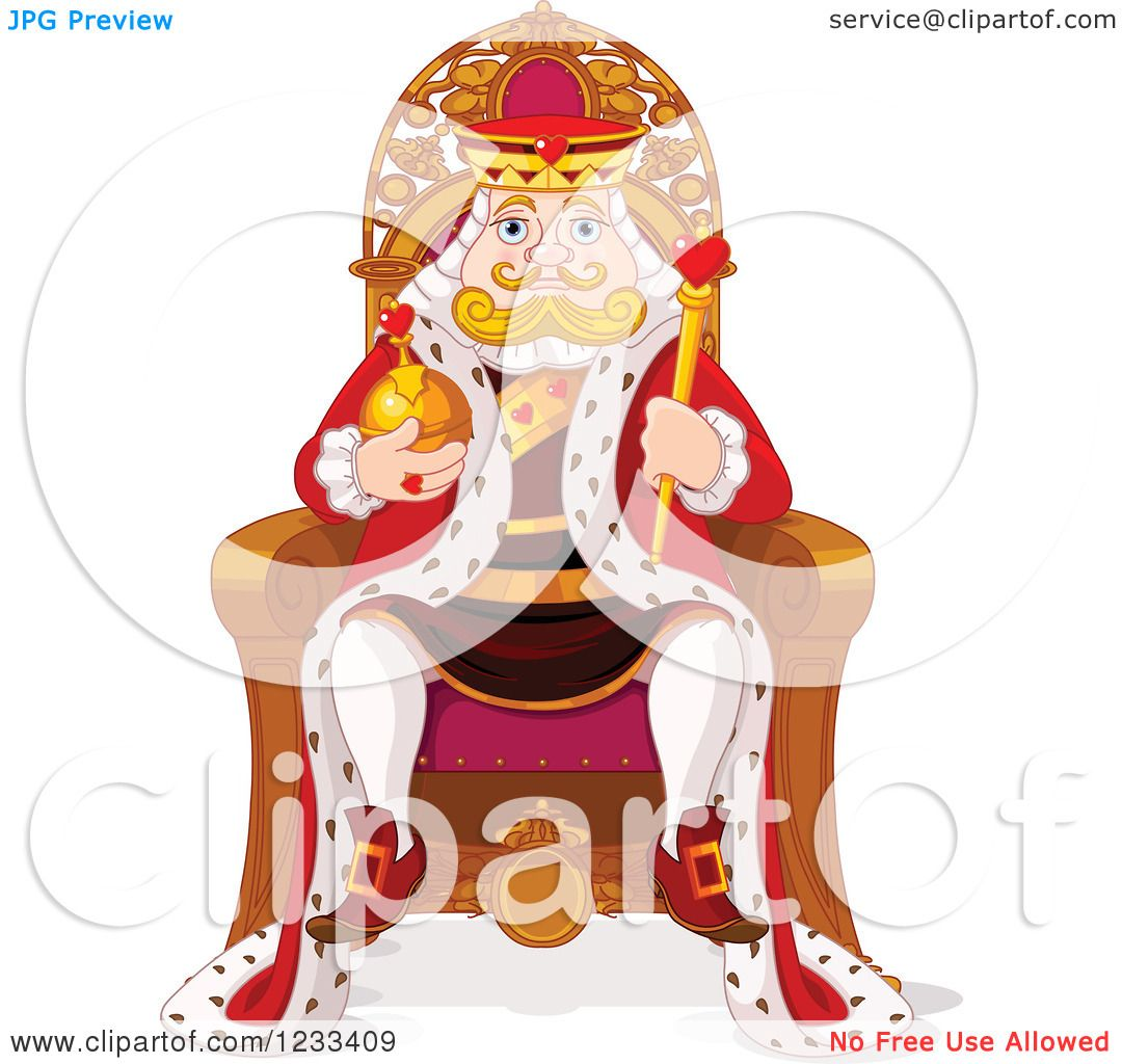 Clipart of a Royal King Sitting on His Throne.