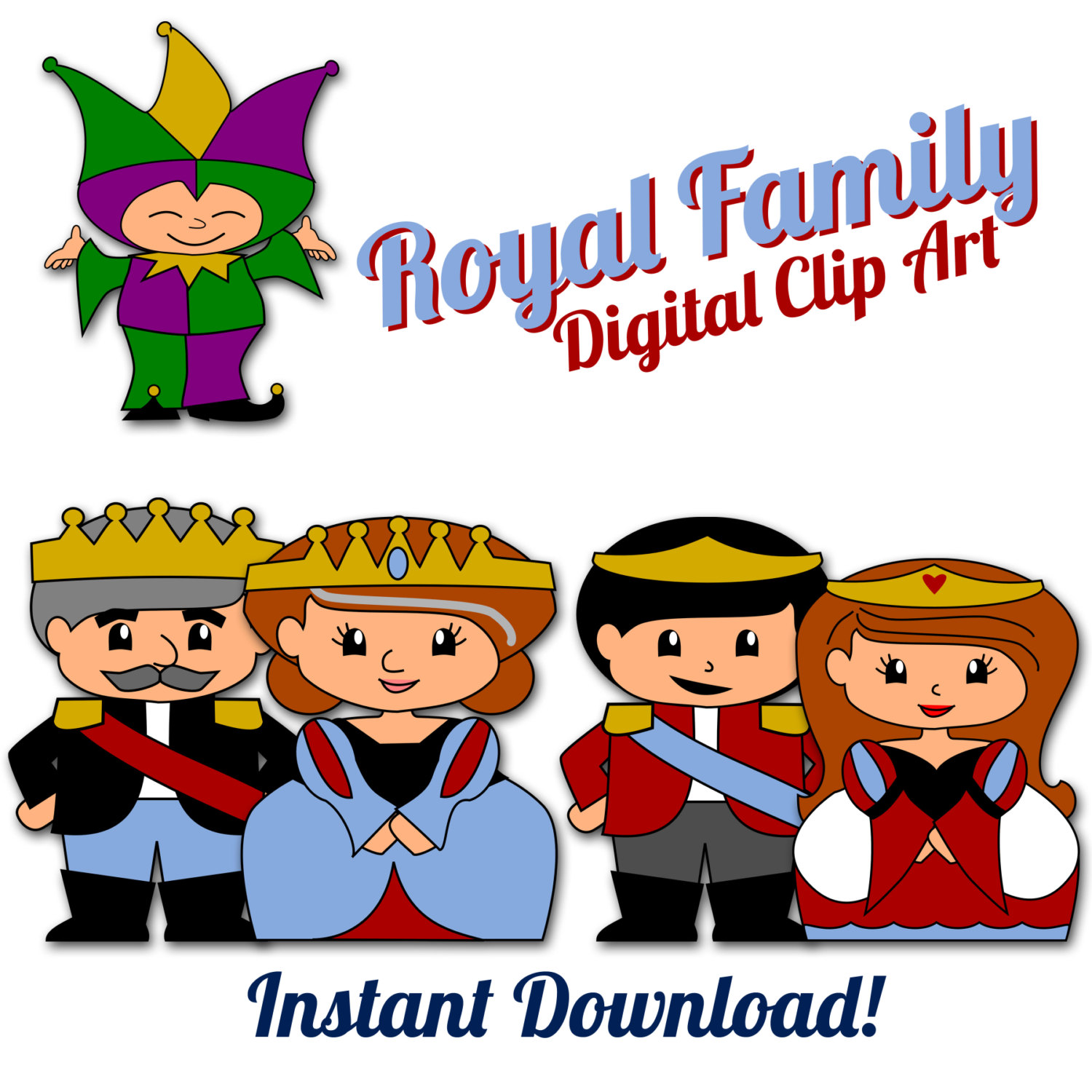 King and Queen Digital Clip Art prince princess court.