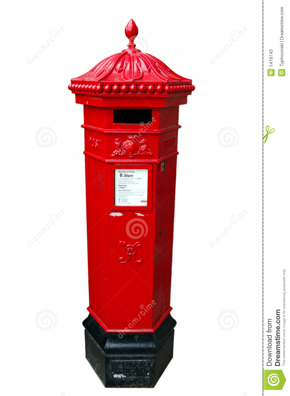 A British, Royal Mail Postbox, Isolated Stock Photos.