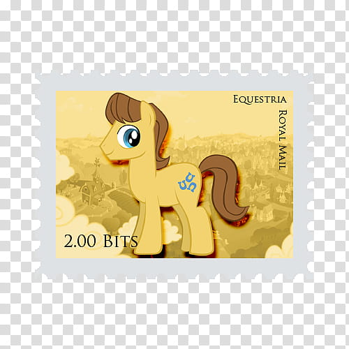 Pony Stamps , Yellow Equestria Royal Mail postage stamp.