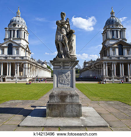 Stock Images of Grand Square at the Royal Naval College in.