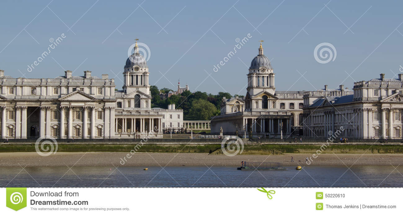 Bell Towers Of The Old Royal Naval College In The Thames At.