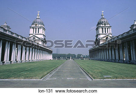 Stock Photography of Two Colonnades Royal Naval College London UK.
